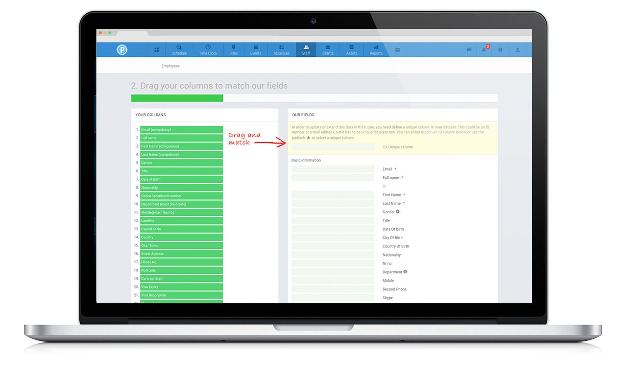 Staff management software screenshot: export and import data